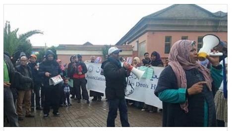 وقفة الجمعية المغربية لحقوق الإنسان فرع البرنوصي وبرشيد أمام المحكمة الابتدائية