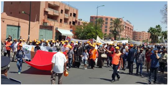 بالصور- العمال يحتفلون بمراكش بعيد الشغل عبر مسيرات محتشمة