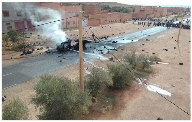 انفجار مروع لشاحنة محملة بقنينات غاز في تنغير