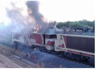 فزع وهلع داخل قطار اشتعلت بها النيران قرب مكناس