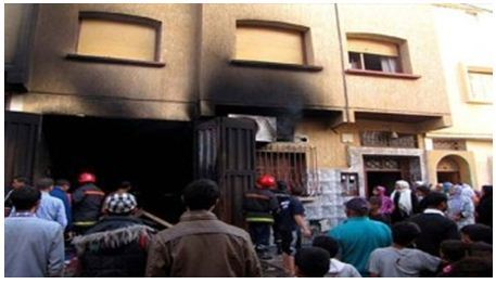 حريق مهول بمطعم شعبي بشارع محمد الخامس بمدينة برشيد