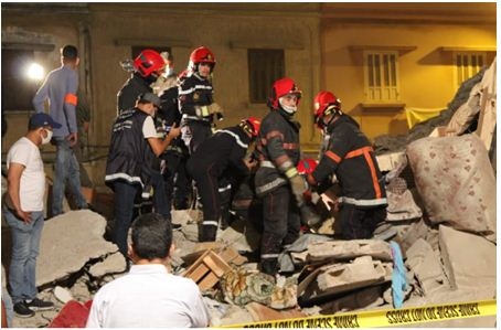 وفاة شخص بسبب انهيار منزل من 3 طوابق بمقاطعة بنمسيك في الدار البيضاء