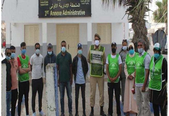 حملة تحسيسية وتوعوية لاحتواء فيروس كورونا من تنظيم جمعية المغرب الأخضر الوطنية لحماية البيئة بتنسيق مع السلطة المحلية بالجديدة